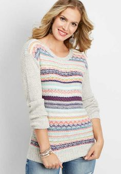 68bc26d2f370 fairisle boat neck pullover sweater - alternate image Winter Outfits
