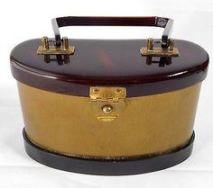 Vtg 1940s Art Deco Brown Bakelite Catalin Satin Lined Box Handbag Case Purse