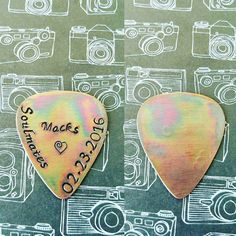 Check out this item in my Etsy shop https://www.etsy.com/listing/245798556/copper-antique-guitar-pick