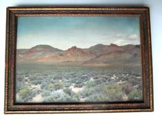 """Vintage Framed Oil Colored Photograph  """"Devil's Paint Pot"""" Yellowstone Wyoming"""
