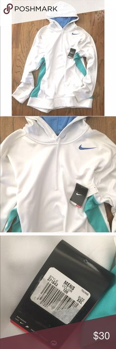 Nike Men's Sweatshirt White Nike sweatshirt. Is brand new, however it has some spots on it (pictures). They are very faint, and may come out in the wash. Also the hood and sides are different blues. Nike Shirts Sweatshirts & Hoodies
