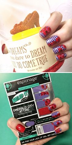 There's no place like home! These Emerald City Attire nail wraps were part of our Bedtime Stories round of Nexus. Nexus ships two brand new Nerd Manicure designs to your doorstep every month! These poppy-covered nail wraps are a subscriber exclusive! Subscribe at ecboombox.com and don't miss out on the next round! #EspionageCosmetics #NerdManicure #Nails #NailWraps #NailArt #Nailspiration #Dorothy #EmeraldCity #WizardofOz #Oz