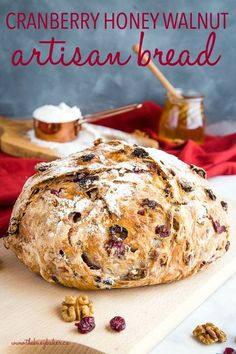 This No-Knead Cranberry Honey Walnut Artisan Bread Is A Delicious Sweet Bakery-Style Bread That's Perfect For The Holidays Make It Perfect With My Easy Pro Tips For Homemade Bakery-Style Bread Recipe From Thebusybaker. Artisan Bread Recipes, Dutch Oven Recipes, Baking Recipes, Easy Recipes, Yeast Bread Recipes, Recipes Dinner, Dutch Oven Desserts, Breakfast Bread Recipes, Cornbread Recipes