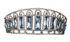 The aquamarine and diamond kokoshnik tiara, shown here on a white background, was made in 1900. Empress Alexandra had the largest jewellery collection in the world, and ironically it was hidden in her bedroom, which was a private vault for some of the most precious jewels.  In 1917 the collection was valued at 50 million dollars.