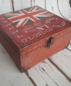 5 o'clock Tea Time Box wooden tea caddy vintage by iLoveCreations