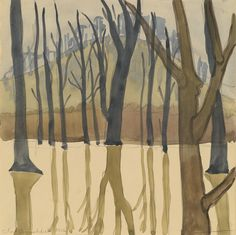 Landscape with Trees,1916.CHARLES BURCHFIELD. Watercolor and pencil on paper