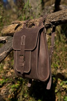 Midle Size backpack For Man Brown Leather Backpack por InBagWeTrust