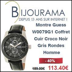 #missbonreduction; 40 % de remise sur la Montre Guess W0079G1 Coffret Cuir Croco Noir Gris Rondes Homme chez Bijourama.http://www.miss-bon-reduction.fr//details-bon-reduction-Bijourama-i851979-c1831315.html