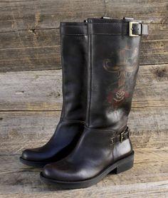 MIA Tall Leather Biker Riding Boots w Buckles Daggers Rosses Womens 10 New   eBay $79