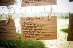 Wedding or Party Idea: give away recipe cards (for dish served) to guests...pin to chicken wire