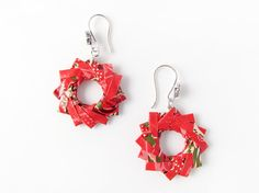 Red and green patterned origami wreath earrings - 1st anniversary gifts from Paperica on Etsy