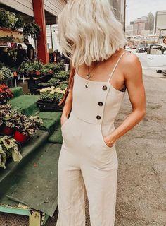 Women Summer Backless Button Strappy Jumpsuit Casual Long Trousers Playsuit Women Summer Backless Button Strappy Jumpsuit Casual Long Trousers Playsuit - Jumpsuits and Romper Looks Chic, Looks Style, My Style, Hair Style, Spring Summer Fashion, Spring Outfits, Outfit Summer, Casual Summer, Style Summer