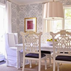 China Seas Sigourney Wallpaper Chippendale Chairs Dining Room Chair Slipcovers