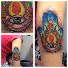 Awesome color hamsa hand tattoo