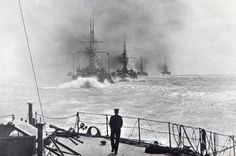 Pre-Dreadnought battleships of the Royal Navy in line ahead, with HMS Jupiter leading HMS Illustrious, 1904.  This was the period that the German High Seas Fleet was becoming a genuine threat: the 'all big gun' HMS Dreadnought of 1906 rendered all such ships (in which the British had a significant preponderance) immediately obsolete.