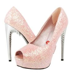 Shoes pink sparkle with a funky heel 7820 |2013 Fashion High Heels|