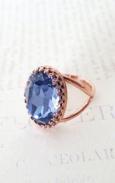 Rose Gold Swarovski Crystal Cocktail Ring