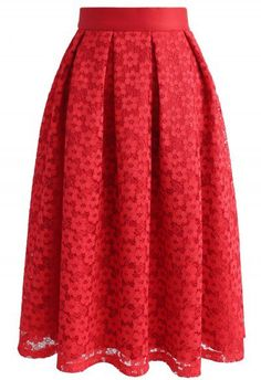 Twirl My Dearest Lace Midi Skirt in Red