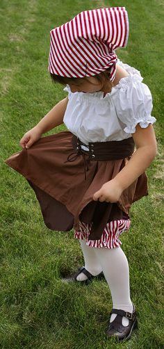 Custom Girl's Pirate Costume - Dress, Bloomers, Belt, and Head Scarf - CUSTOM SIZE (3 through 8)