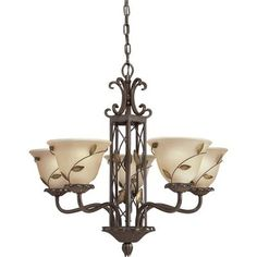 Glass Shades Stained Glass And 5 Light Chandelier On