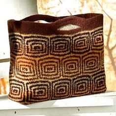 A felted bag pattern with two sizes worked in a mosaic pattern and then felted. Options for a number of mosaics and suggestions for other color patterns are also included.
