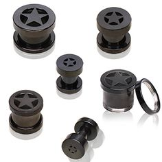 Black Titanium Anodized Over 316L Surgical Steel Double Flared Screw Fit Flesh Tunnel Ear Plug with Star