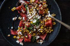 watermelon, grilled corn, & feta salad