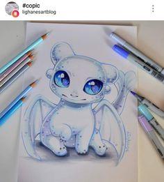 Lightfury Baby Dragon by Lisa Saukel Cute Disney Drawings, Cute Animal Drawings, Kawaii Drawings, Cool Drawings, Drawing Animals, Drawing Disney, Fantasy Drawings, Cute Dragons, Dragons To Draw
