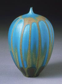 "Glazed porcelain vase by Rose Cabat, 1958. Cabat's vases are called ""feelies"" because they are so inviting to touch."