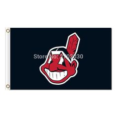 Cleveland Indians Flag Baseball Super Fan Team Red Banners Major League Baseball Flags Banner 3x5 Ft Champions Indian 90 x 150cm