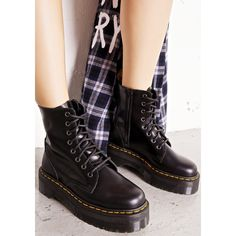 Dr. Martens Jadon 8 Eye Boots (9.895 RUB) ❤ liked on Polyvore featuring shoes, boots, leather combat boots, army boots, black combat boots, black zipper boots and lace up boots