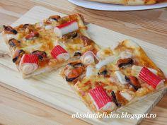 Absolut Delicios - Retete culinare: PIZZA CU FRUCTE DE MARE Hawaiian Pizza, Food Design, Cooking Recipes, Pasta, Chef Recipes, Recipies, Pasta Recipes, Pasta Dishes