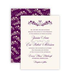 $25 Autumn Flourish Dark Egglplant Wedding Invitation - Printable, Print On Your Own, Digital Design, DIY - by Marie Couture Designs on Etsy