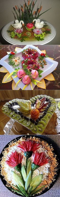 How to decorate dishes to a celebration! Veggie Art, Fruit And Vegetable Carving, Deco Fruit, Fruits Decoration, Food Sculpture, Food Garnishes, Garnishing, Food Carving, Food Platters