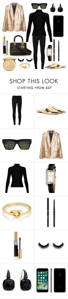 """Lady Dior: black & gold"" by theodor44444 ❤ liked on Polyvore featuring 7 For All Mankind, Prada, CÉLINE, Acne Studios, Hermès, Finn, Yves Saint Laurent, Pomellato and Apple"
