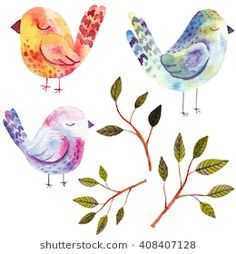 Watercolor set with birds and branches. Hand drawn kids illustration.Perfect for postcards,greeting cards,prints or t-shirts.