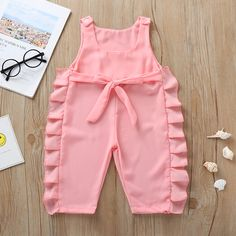 KISSB Kids Girls Romper Toddler Baby Clothes Off-Shoulder Sleeveless Solid Chiffon Jumpsuit with Waistband Playsuit for Girls Frock Design, Kids Frocks Design, Baby Frocks Designs, Baby Dress Design, Cute Baby Dresses, Stylish Dresses For Girls, Dresses Kids Girl, Kids Outfits, Girls Dresses Sewing