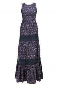 Navy Printed Sheer Panel Detail Maxi Dress #quench #shopnow #ppus #happyshopping