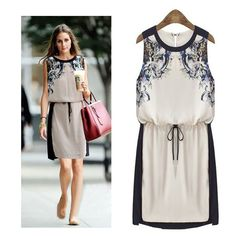 Cheap dress mandarin, Buy Quality dress christening directly from China dress water Suppliers:  New 2015 Printed Summer Dress Vintage Women's Clothing Pinched Waist Chiffon dress Casual Sleeveless Women Party Dresse