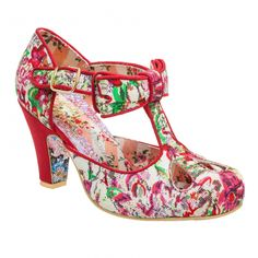 Kissing Kate Red- This pretty shoe featuring floral fabric and an oversized bow is perfect for the summer months.