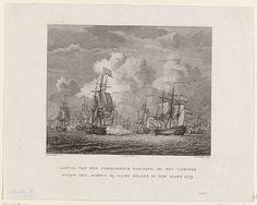 Reinier Vinkeles | Treffen tussen Fielding en Van Bylandt, 1779, Reinier Vinkeles, François Bohn, 1779 - 1781 | Treffen tussen een Engels eskader onder bevelhebber Charles Fielding en een Nederlands eskader onder Lodewijk van Bylandt dat een konvooi begeleidde, bij Isle of Wight op 31 december 1779.
