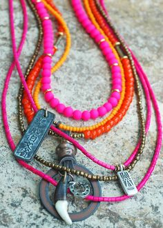 Awesome Custom Orange and Pink Long Bohemian Pendant Necklace Contact me to get something similar or your own custom design!