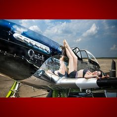 @bjeanpinup #WarbirdQueen on @quicksilverp51 at #EAA #Oshkosh last year in shoot for @vix4vets #Vixens4Veterans. BrittanyJean wears @tatyanaboutique @beachbashco swimwear. #MyNikonLife #D800 #warbirds...