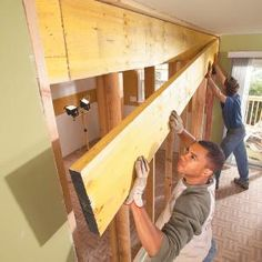 How to Install a Load-Bearing Beam. Open up cramped rooms by replacing a wall with a load-bearing beam. Create an open kitchen/dining area, a larger living room or a huge master bedroom using basic framing techniques and standard materials. Kitchen Redo, Open Kitchen, Kitchen Dining, Kitchen Remodel, Don Chuy, Home Renovation, Home Remodeling, Br House, Load Bearing Wall