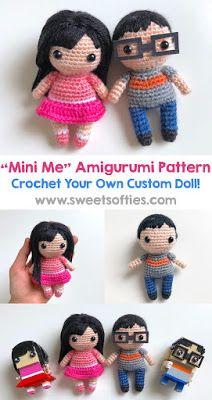 cute amigurumi crochet mini me custom doll pattern for boy girl male female chibi anime doll   sweet softies pattern handmade diy craft yarn fiber art body base