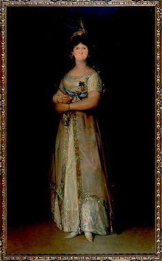 María Luisa de Parma Reina de España en Vestido de Corte por Francisco de Goya, 1800. Era la principal rival de la Duquesa, se hacían traer los vestidos más exclusivos de París para pisarse la una a la otra e incluso se explica que la Duquesa una vez vistió a sus criadas con un diseño plagiado de la Reina para ridiculizarla.