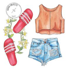 Good objects - Suede + denim + red slides #goodobjects #illustration watercolor