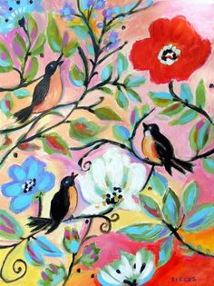 3 Colorful Birds - Print by Karen Fields