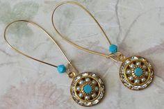 Vintage Crystal & Pearl Rhinestone Earrings  by ArtistInJewelry