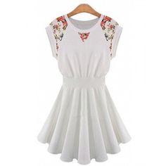 Fashion Round Neck Lace Patchwork Cap Sleeve Mini Pleated Dress
